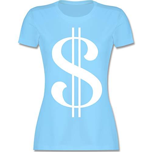 Karneval & Fasching - Dollar Kostüm weiß - XL - Hellblau - L191 - Damen Tshirt und Frauen - Bandit Kostüm Frauen
