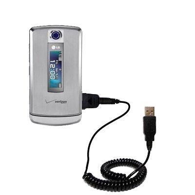 Aufgewickeltes USB-Kabel kompatibel mit LG VX8700 mit den Funktionen Datentransfer und Aufladen Verwendet die TipExchange Technologie