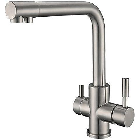 EAST-Contemporáneo Boquilla estándar Lavabo amplia de spray / Giratorio with Válvula Cerámica Dos manijas de un agujero for Níquel Cepillado