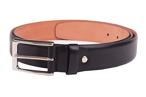 Leder-Gürtel für Herren in schwarz: aus 100 % Kalbsleder, hergestellt in Handarbeit, ideal als Jeans-Gürtel, Anzug-Gürtel - Vollleder Hosen-Gürtel (Handarbeit Kalbsleder Schwarze)