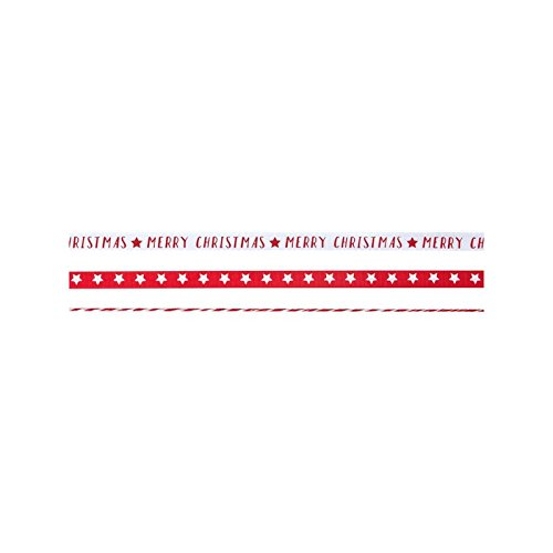 3 Geschenk Bänder Farbbänder Sterne Merry Christmas rot/weiss Weihnachten