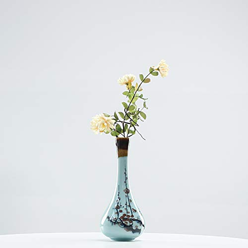 Deko Skulpturen Statue Figur Celadon Moderne Persönlichkeit Handgemalte Blume Hauptdekoration Hydroponische Vase Behälterdekoration Hauptwohnzimmerblumengesteck, Seladon Handgemalte Guanyin-Flasche -