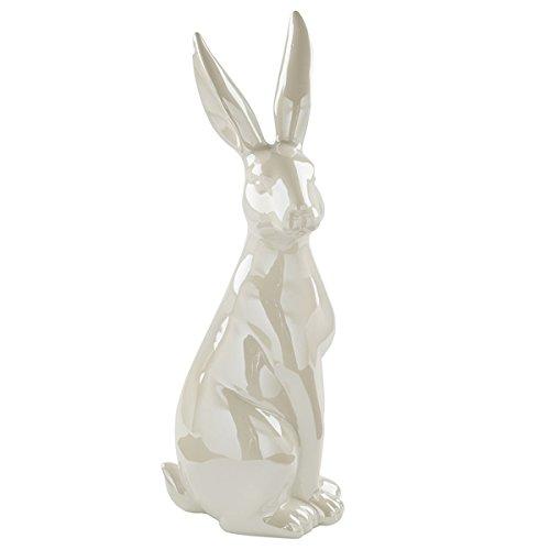 Fink - figura decorativa - coniglio pasquale - bodo - ceramica color crema smaltato - altezza 41 cm