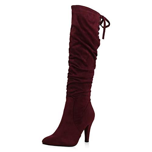 SCARPE VITA Klassische Damen Stiefel Stiletto High Heels Spitze Slouch Boots 173392 Dunkelrot 36 -