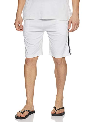 Demokrazy Men's Relaxed Fit Shorts (SH009_M_White_Medium)