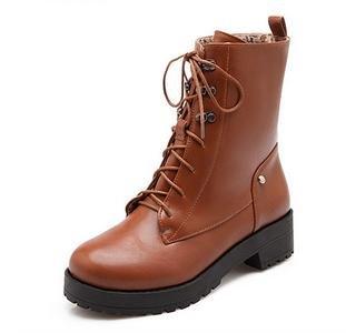 &ZHOU Bottes d'automne et d'hiver courtes bottes femmes adultes Martin bottes Chevalier bottes a14 Brown
