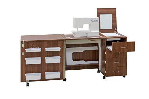Comfort 2 | Mueble para máquina de coser | (Premium White, L (Air-Lifter 15kg))