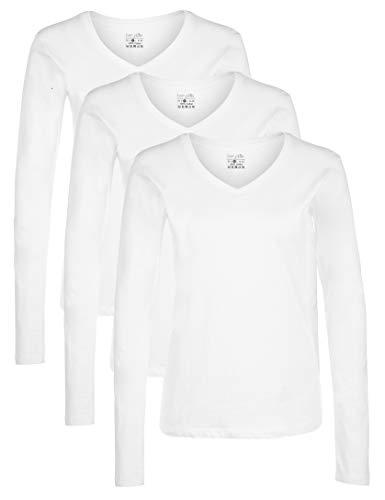 Berydale Damen Langarmshirt mit V-Ausschnitt, 3er Pack, Weiß, 2XL