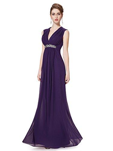 Ever Pretty Robe de cocktail longue V-col et la taille orn¨¦e des diamants 08220 Violet