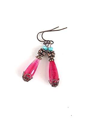 Boucles d'oreilles pendantes, Gouttes d'Agate fushia, finition cuivre