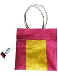 Madhura Vaishnavi Traders Pink & Yellow Color Eco Friendly Jute Shopping Bag