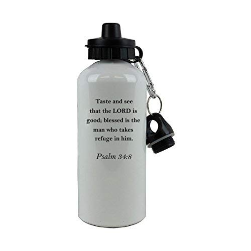 GFGKKGJFD Psalm 34:8 Bibelvers, weiße Aluminium-Trinkflasche, lustige Sport-Wasserflasche, Geschenk für Kinder, für Frauen (Psalm 34 8)
