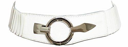 Damen Gürtel Leder Taillengürtel Hüftgürtel One Size Stretch Gürtel #SA-73 (Uni Weiß) (Weiße Stretch-gürtel)