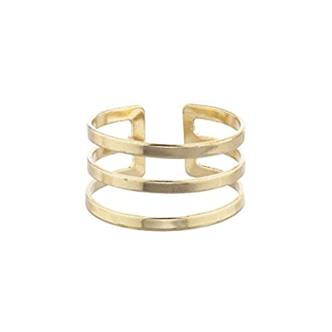 LUX Zubehör Gold Ton Geo Cut Out Triple Bar Ring