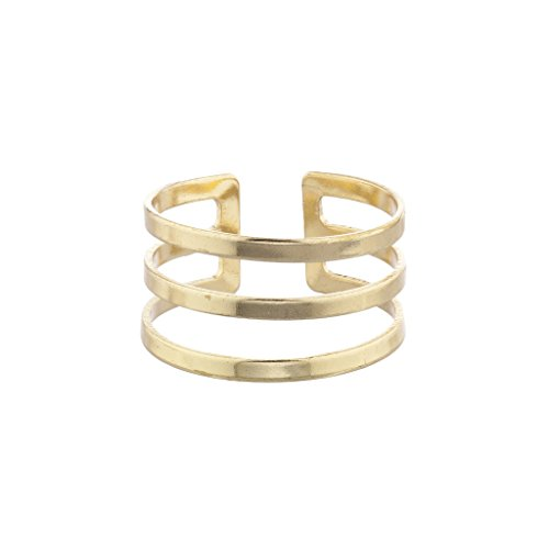 LUX Zubehör Gold Ton Geo Cut Out Triple Bar Ring (Lux Ringe)