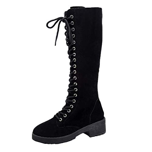 UFACE Damen Retro Wildleder Flache Schuhe Runde Toe Lace-up Lange Tube Knight Stiefel