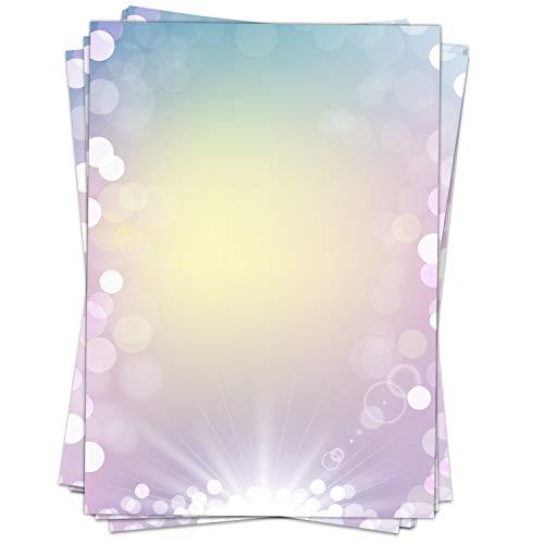 25 Blatt Briefpapier Motiv Zauberhafter Verlauf/beidseitig bedruckt/DIN A4 90 g Papier/Bunt/Regenbogen/Glitzer/Edel