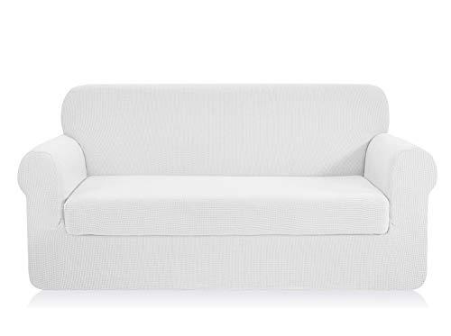 Chun yi 2-pezzi jacquard copridivano coprisofà elasticizzato in tinta unita (divano, bianca)