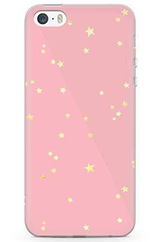 Case Warehouse iPhone 5 / 5s / SE Designer Fashion Rose Gold Spielt Im Weltraum Schutz Gummi Handyhülle TPU Bumper Süss Rosa Stein Girls Modisch (Iphone 5 Case Fashion Girl)