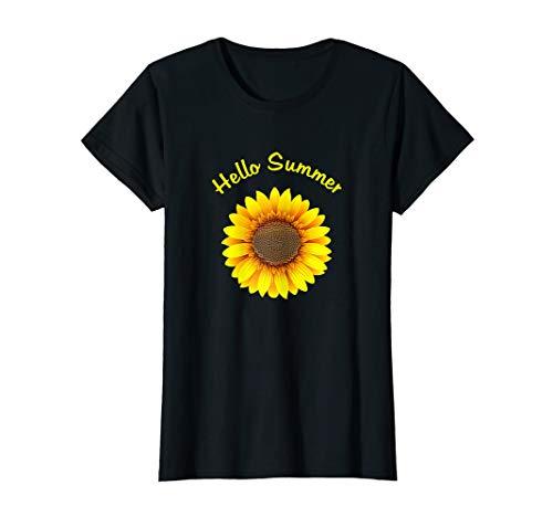Damen Sommer tshirts - Hippie Kostüm Hemd Hello Summer Sonnenblume T-Shirt (Red Hat Blue Shirt Kostüm)