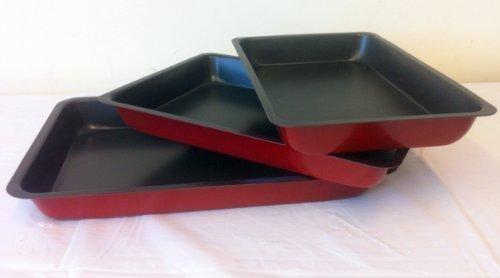 3 ROASTING TRAYS. NON STICK WITH RED EXTERIOR. OVEN BAKING PANS TINS COOKWARE