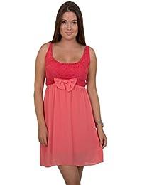 GIOVANI & RICCHI Damen Kleid Spitzenkleid One Size Einheits Groesse Mix Mint Grün, Rosa, Blau, Beige, Pink, Weiss, Schwarz, Indigo, Braun, Rot, Coral