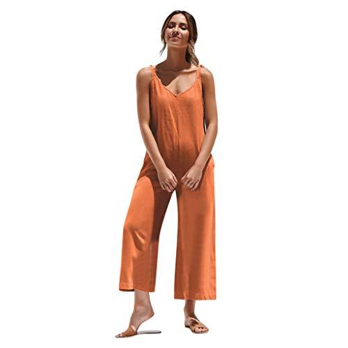 TianWlio Frauen Sommer Übergröße Jumpsuit V-Ausschnitt Strap Volltonfarbe Jumpsuit Beiläufig Pant Orange XXL