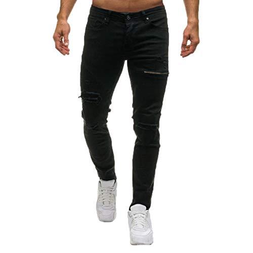 10a872ff6b Comprar al MEJOR PRECIO · QUICKLYLY Pantalones Vaqueros Hombre Pitillo Rotos