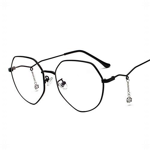 Duhongmei123 Mode Brillen Damenmode Polygonal Brillengestell Myopie mit Sterne Kettenanhänger. Occhiali (Farbe : Black/Silver Frame)