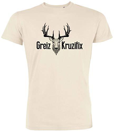 Trachten T-Shirt Greiz Kruzifix Bio Baumwolle S-3XL Trachtenshirt Oktoberfest Bayrisch Wiesn Lederhosen Männer Herren Hirsch Österreich (Vintage-Schwarz, XXL)