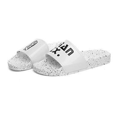 LQXZM Unisex pantofole & amp; flip-flops Comfort estivo PU Casual tacco piatto bianco nero White