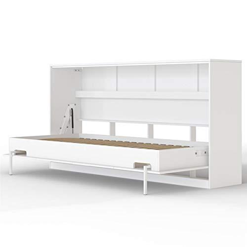 SMARTBett Basic 90x200 Horizontal Weiss Schrankbett | ausklappbares Wandbett, ideal geeignet als Wandklappbett fürs Gästezimmer, Büro, Wohnzimmer, Schlafzimmer