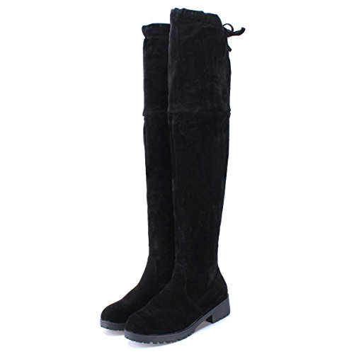 Favoridol Womens Suede Leather Over the Knee High Boots Stretch Pull On...