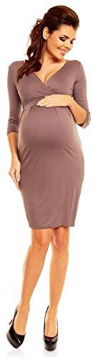 Zeta Ville - maternité - robe jersey de grossesse - robe plissé - femme - 001c Cappuccino