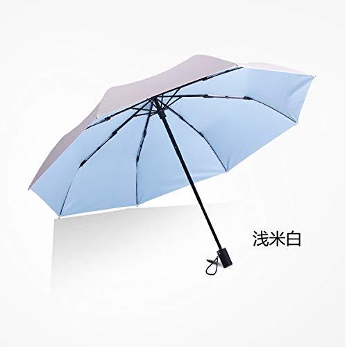 Kleine frische Farbe Kunststoffschirm Sonnencreme Sonnenschirm Dual-Use-Regenschirm Taschenschirm Hellbeige weiß 21 Zoll 8 Knochen