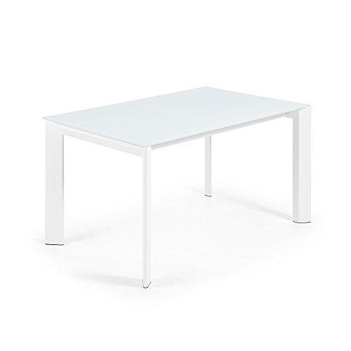 Kave Home Table Extensible Axis 140 (200) cm Verre Blanc Pieds Blanc