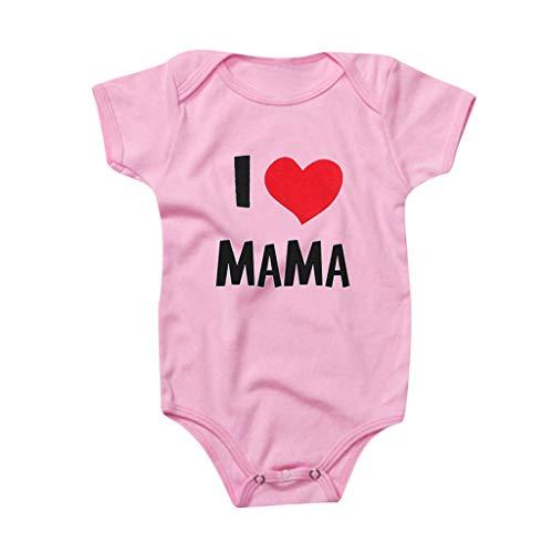 Livoral Neugeborene Bodysuit Bodysuit Valentinstag Kostüm, Baby I Mama Bodysuit(#1 Rosa,12-18 Monate)