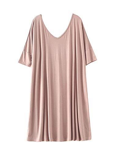 Damen Übergröße Nachtkleid Sommer Nachtwäsche T-Shirt Kleid Helle Kaki XL
