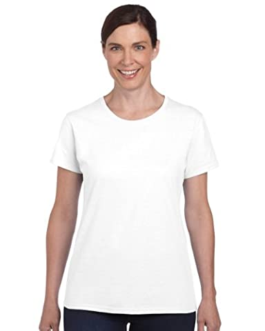 Gildan Ladies/Womens Heavy Cotton Missy Fit Short Sleeve T-Shirt (2XL) (White)