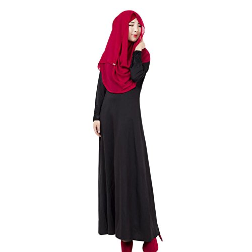 Meijunter Musulman Femme Vêtements Kaftan Abaya Islam Manche longue Dress Loose Robe Black