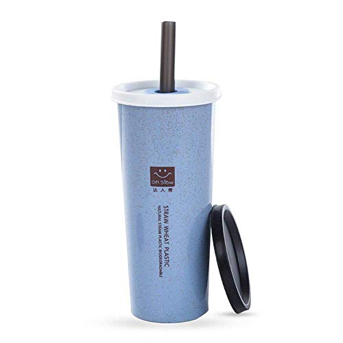 CWeep Removable Wheat Straw Cups Tumbler Cups with Double Cover & Removable Straw, Eco Friendly Reusable Cups Insulated Coffee Mug Unbreakable Hot/Cold Tea Office Cup Drinking Cups (470ML) (Blue) - Blue Mug Cup