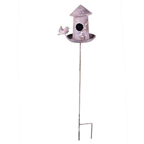 linoows G1281: Retro Vogeltränke, Vogelbad, Vogelhaus zum stecken aus verwittertem Eisen