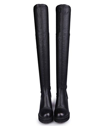 Minetom Femmes Bottes D'hiver Bottes De Neige Coton Rembourré Compensées Chaussures Thermiques Bottes En Cuir Black01