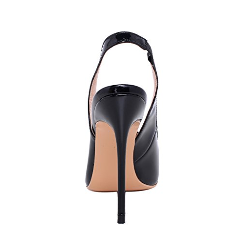 ELEHOT Femme Elequeen Aiguille 10CM Synthétique Sandales Noir