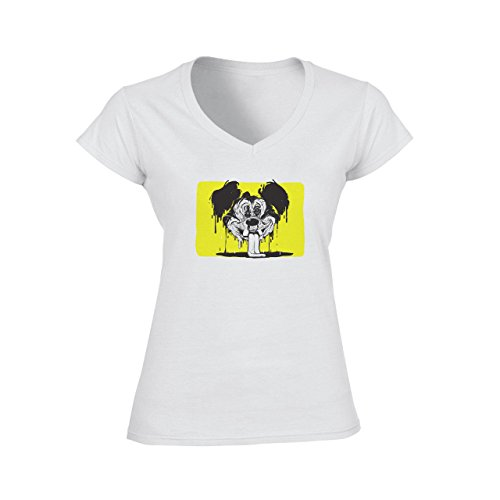 Inked Mickey Mouse Dripping Yellos Scary Ugly Damen V-Neck T-Shirt Weiß