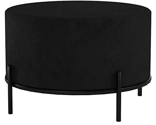 LIFA LIVING Runder Samt Pouf Schwarz für den Innenbereich, Vielseitiger Samt Hocker mit schwarzer Metallbasis, Sitzhocker Couchtisch Beistelltisch, bis zu 100 kg Traglast, 35 x Ø 55 cm