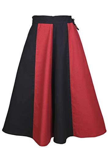 Mädchen Zigeuner Kostüm - Mittelalter Rock für Mädchen Lucia aus Baumwolle - Gewand Kinderkostüm Mittelalterliche Kleidung Wikinger (schwarz/rot, 128)