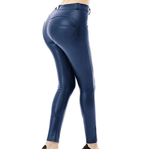 juqilu Frauen Leggings Hose Sexy Hüfthosen - Damen Hosen Kunstleder Leder Treggins Leggins Smooth Strumpfhose Hüfthoch Hose Marine S