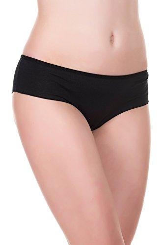 EVONI Damen-Slips aus Baumwolle   3er-Set Brazilian Panties   Höschen in verschiedenen Farben im Set   bequeme Unterhosen im Multipack   Hipster-Panty für jeden Anlass (M, Schwarz/Schwarz/Schwarz) (Panty Brazilian)