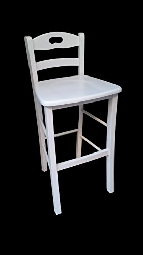 Rückenlehne Bar (Hocker Stuhl Holz massiv weiß mit Rückenlehne Bar Pub Restaurant Agriturismo)